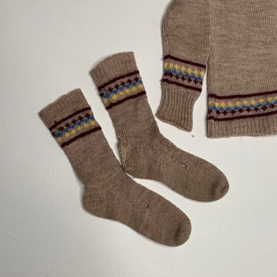 1920's Vintage Hand Knit Childrens Socks and Swea… - image 3