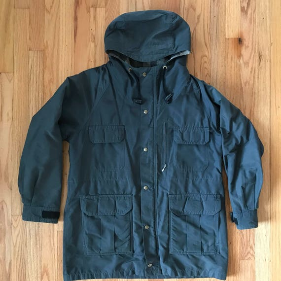 80's REI blanket lined rain coat zip snap mens lar