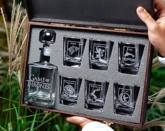8f830364 Game of Thrones, Game of Thrones gift, Christmas gift, House stark, House  targaryen, Whiskey decanter set, Game of Thrones christmas gift