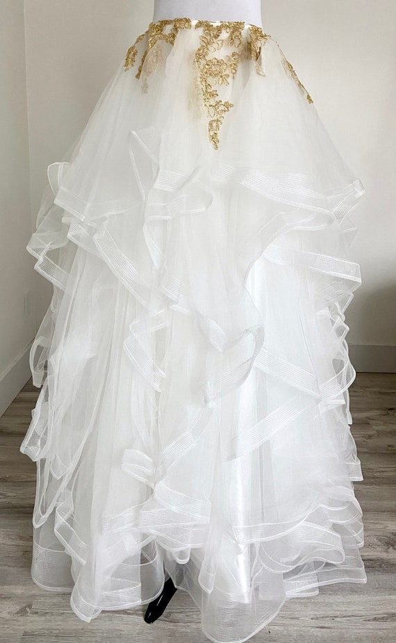 Tiered Tulle Ball Gown Wedding Skirt, White Ball G