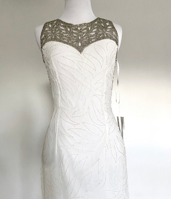 Vintage Silk White Beaded Gown, 1920s Dress, 1930s
