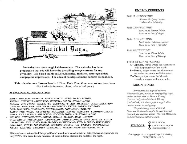 Reduced! ~ 2019-2020 Magickal Days Calendar ~ Astrological Data, Ancient  Holidays, Moon Lore, Psychic Impressions ~ Reduced While They Last!