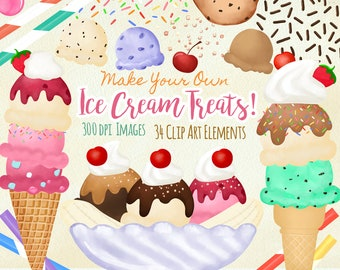 ICE CREAM SUNDAY SUNDAES BANANA SPLIT DESSERT FOOD COTTON FABRIC BTHY