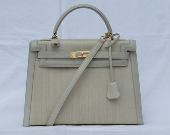 7c536f915e Authentic Vintage Hermes purse Kelly Bag 32 cm Crinoline and leather Beige  Gold Hdw Horse Hair