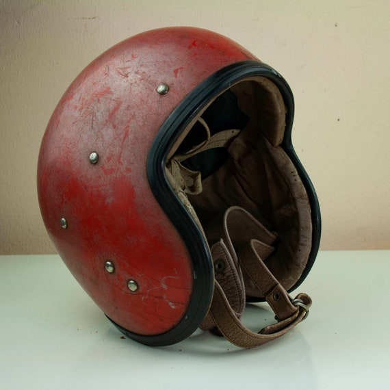Vintage Children's Motorcycle Helmet, Vintage Red