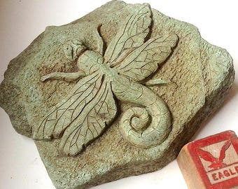 Dragonfly tile, concrete sculpture, stepping stone, dragonfly gift, gardener, dragonfly sculpture, garden decor, dragonfly art, bas relief