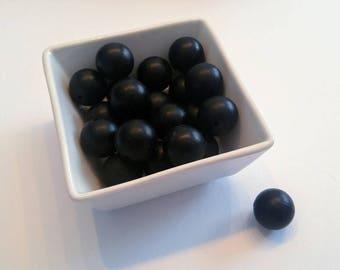 set of Pearl round black / 20mm