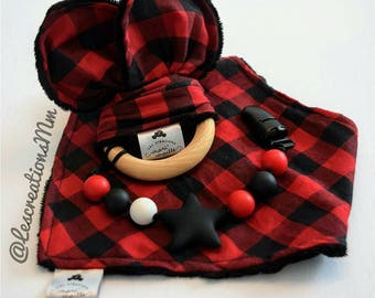 All ears/tie/Bavana ' kids matching / lumberjack/boy and girl style
