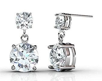 f68c6a9f6 Cate & Chloe Jasmine Silver 18k Gold Plated Swarovski Drop Earrings,  Sterling Silver Earrings