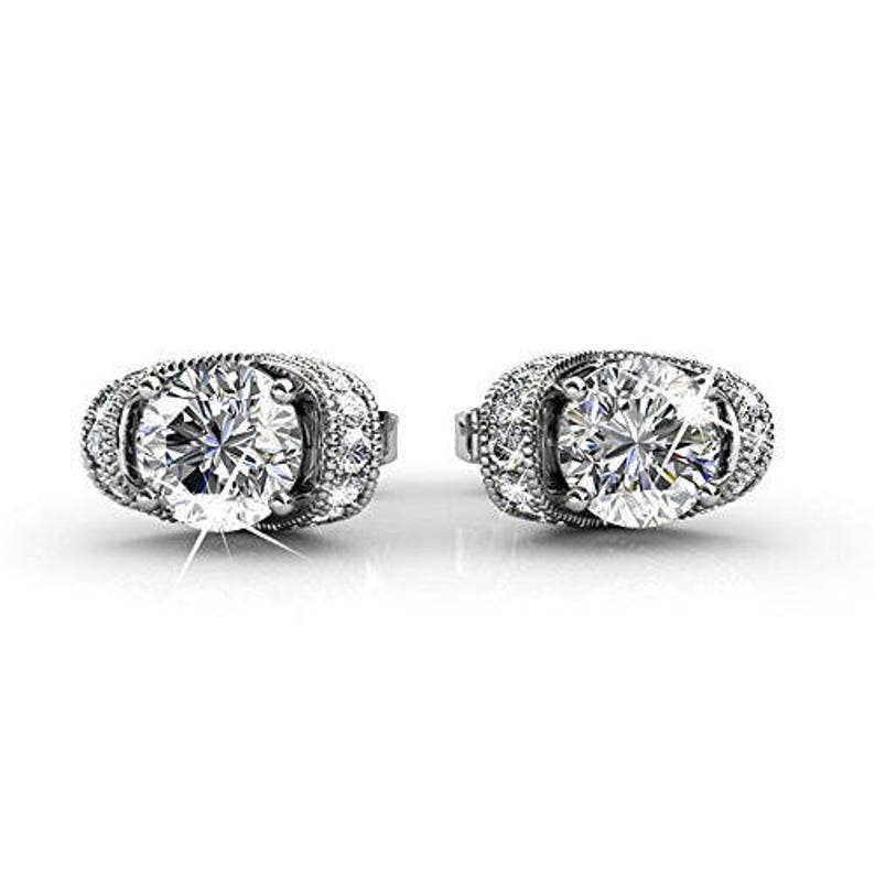 756e58dab9903 Cate & Chloe Astrid 18k White Gold Swarovski Earrings, Halo Stud Earrings,  Best Silver Earrings for Women, Girls,, Post Solitaire Earrings