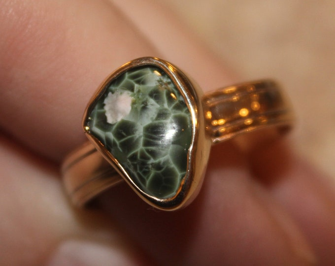 Chlorastrolite (Greenstone) 14K Gold Ring GGR-1 Size 11.5