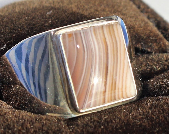 Lake Superior Agate Ring: LSAR-15 Size 11.5