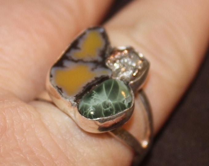 Chlorastrolite (Greenstone) Half-Breed  & Yellow Datolite Ring HBYDGR-1 Size 10.5