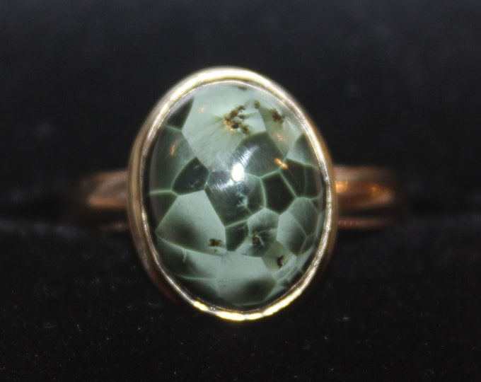 Chlorastrolite (Greenstone) 14K Gold Ring GGR-2 Size 8.25