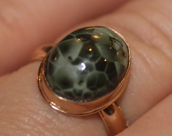 Chlorastrolite (Greenstone) 14K Gold Ring GGR-2 Size 8.25