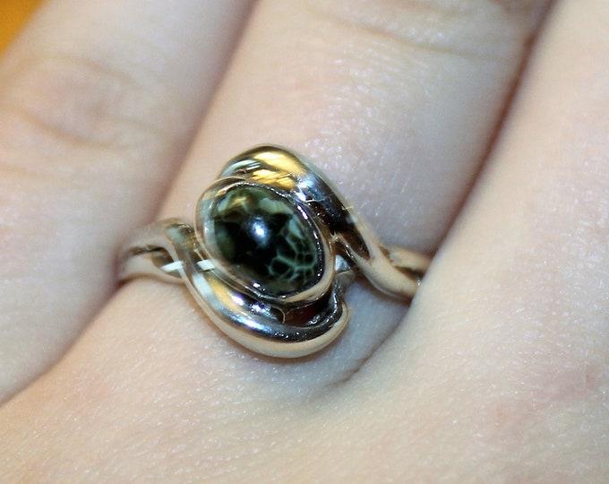 Chlorastrolite (Greenstone)  Ring: GR-100 SIze 8