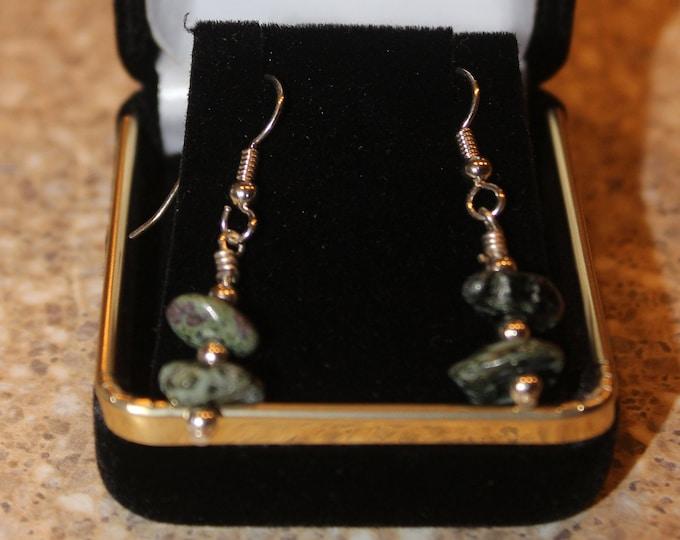 Chlorastrolite (Greenstone) Earrings: GE-16