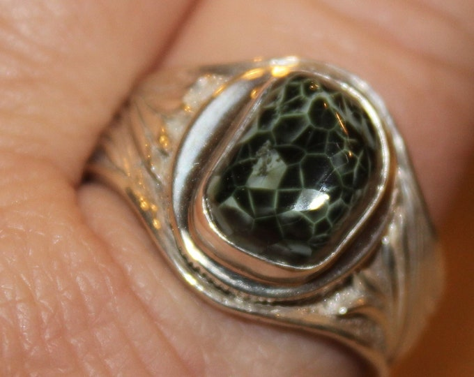 Chlorastrolite (Greenstone) from Isle Royale Ring GR-78 Size 11.5