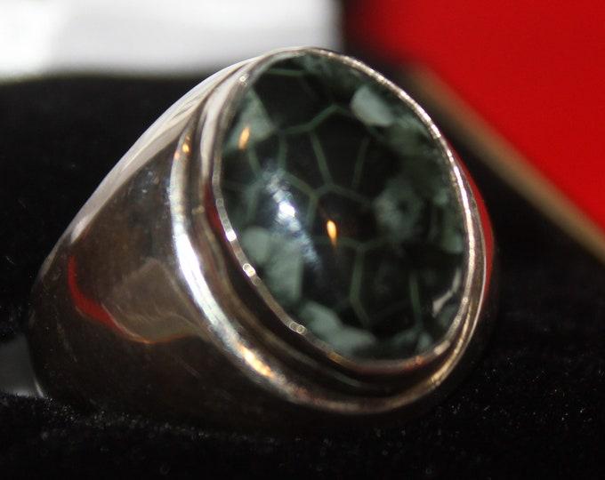 Chlorastrolite (Greenstone) Ring GR-101 Size 8.25
