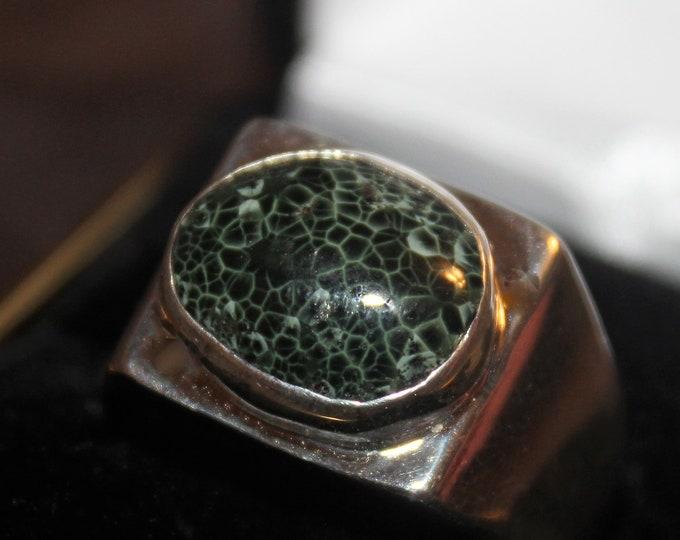Chlorastrolite (Greenstone) Ring GN-116 Size 11
