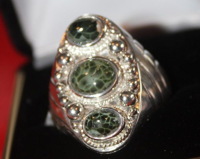 Chlorastrolite (Greenstone) Ring GR-95 Size 11
