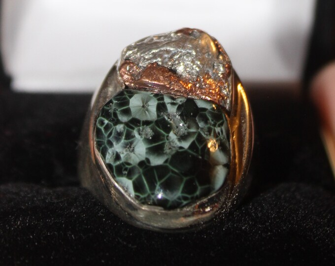 Chlorastrolite (Greenstone) Half-Breed Ring HBGR-2 Size 10.25