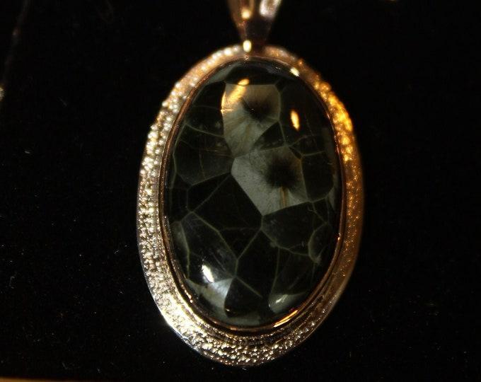 Chlorastrolite (Greenstone Island Stone the Old collection) Pendant 14 K Gold & Argentium Silver .935