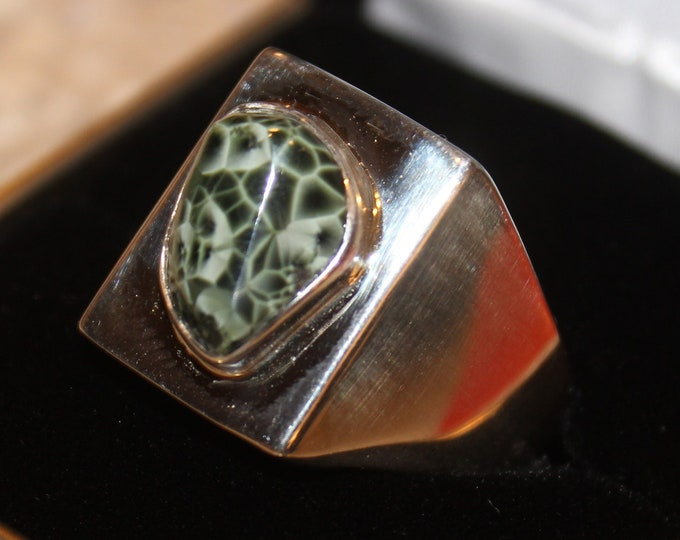 Chlorastrolite (Greenstone) from Isle Royle (the old collection) Ring GR-95 Size 12