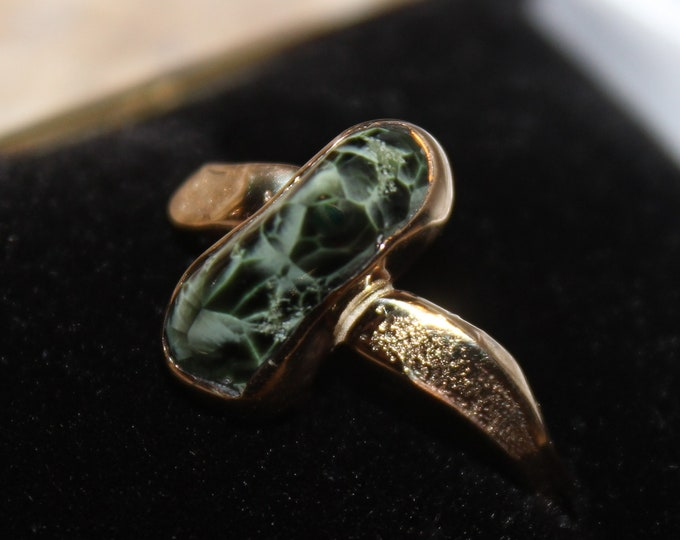 Chlorastrolite (Greenstone) 14k Gold Ring GGR-3 Size: 10.5