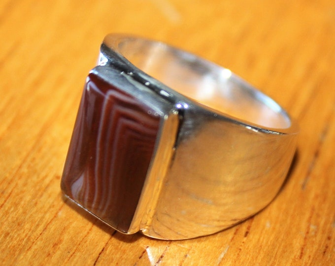 Lake Superior Agate Ring: LSAR-21 Size 8