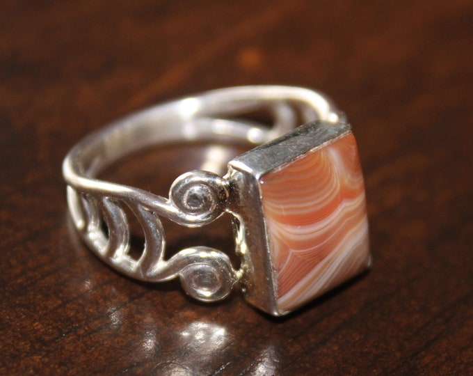 Lake Superior Agate Ring: LSAR-24 Size 7