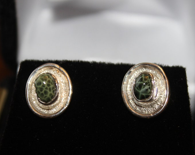 Chlorastrolite (Greenstone) Earrings GE-53