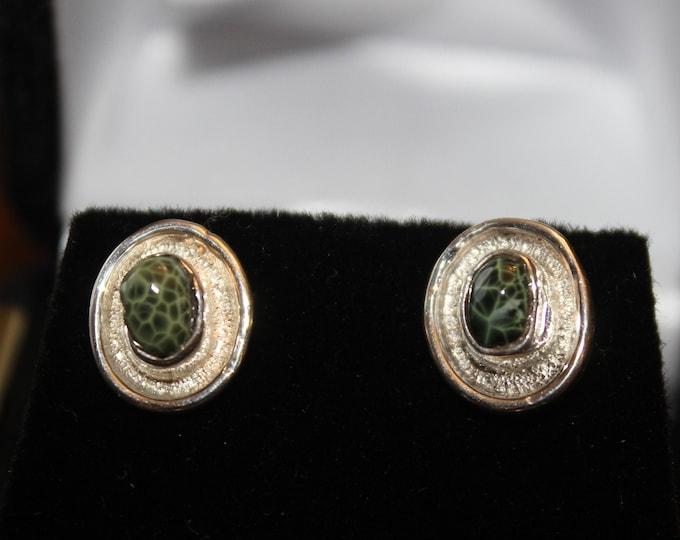 Chlorastrolite (Greenstone) Earrings GE-53
