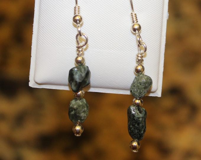 Chlorastrolite (Greenstone) Earrings GE-37