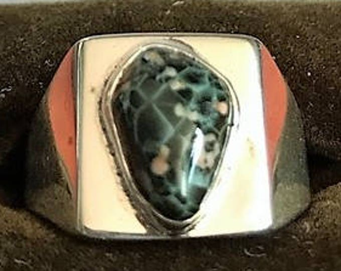 Chlorastrolite (Greenstone) with Prenite from Isle Royale,Sterling Silver GR-38 Size 7.5