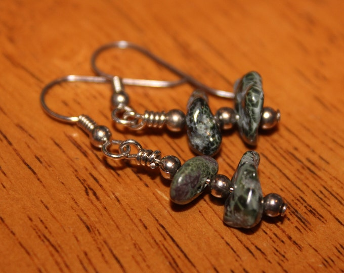 Chlorastrolite (Greenstone) Earrings GE-16