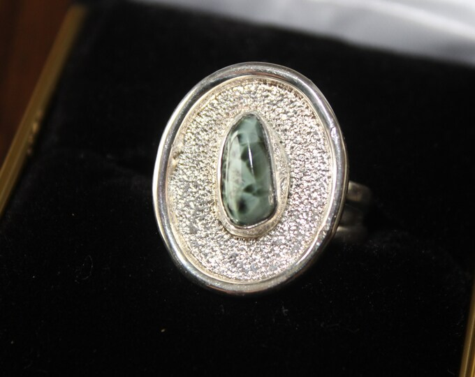 Chlorastrolite (Greenstone) inland stone Ring GR-138 Size 7