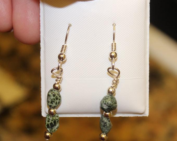 Chlorastrolite (Greenstone) Earrings GE-39