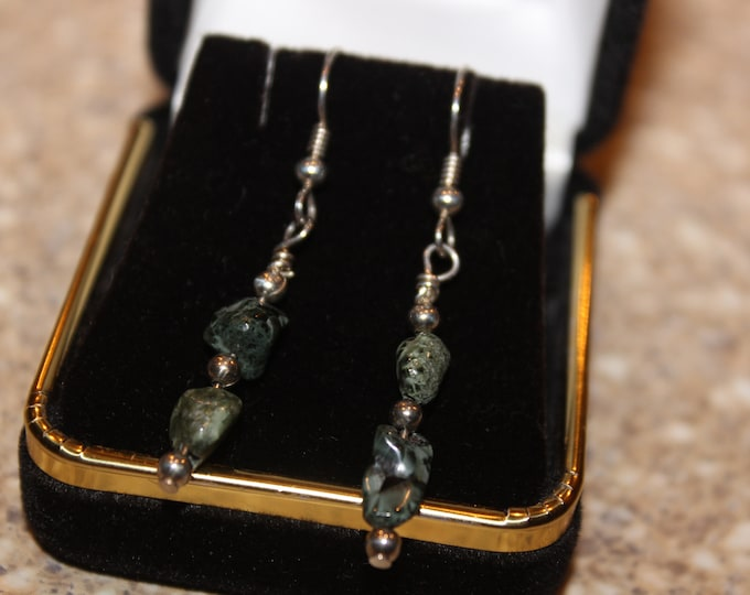 Chlorastrolite (Greenstone) Earrings GE-14