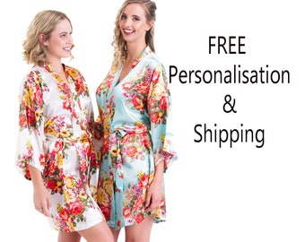 Personalised  Robes / Floral Bridesmaid Robes / Getting Ready Robes / Bridal Party Robes / Wedding Robes /