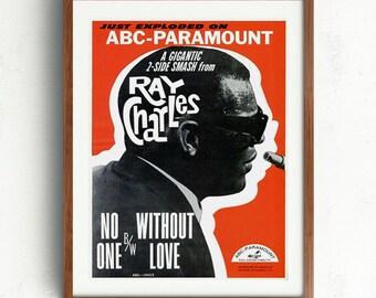 Ray Charles (1960/70's )Jazz Music Concert Vintage Poster Reprint | Wall Art | Decor | Printed or Printable