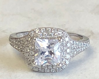 a413feb33ab5bf Lady's Sterling Silver and Cubic Zirconia (CZ) Double Halo Princess Cut Engagement  Ring 1.65ct Total Weight at a Fantastic Price.