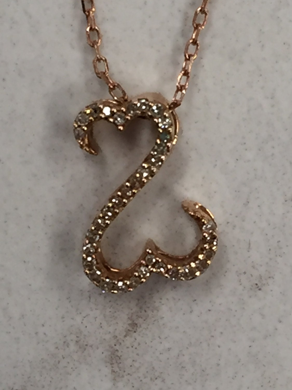 14kt rose gold jane seymour inspired diamond swan pendant. Black Bedroom Furniture Sets. Home Design Ideas