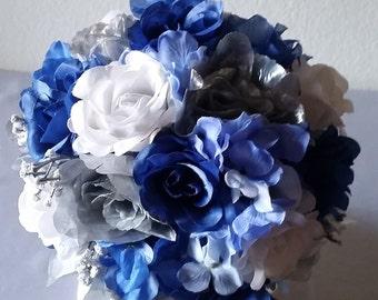 Royal blue bouquet etsy royal blue silver white bridal wedding bouquet boutonniere mightylinksfo