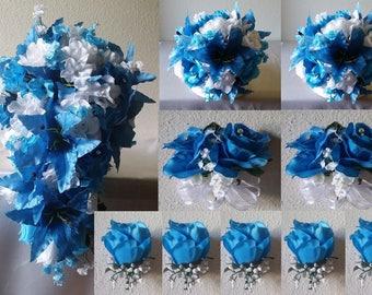 Malibu Blue White Rose Tiger Lily Bridal Wedding Bouquet Package
