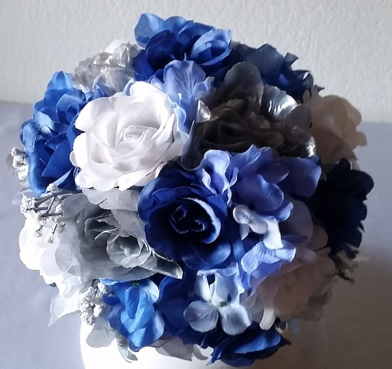 Royal blue silver white bridal wedding bouquet boutonniere etsy image 0 mightylinksfo