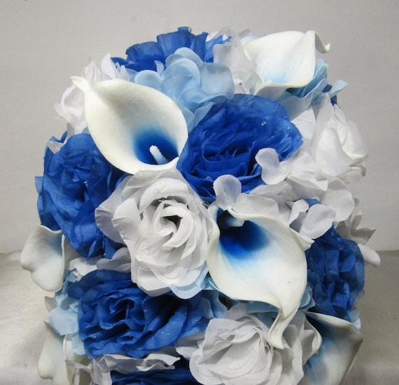 Bouquet Sposa Blu E Bianco.Malibu Blu Bianco Rosa Calla Lily Bouquet Da Sposa Matrimonio Etsy
