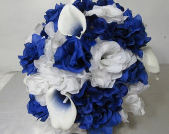 Royal Blue White Rose Calla Lily Bridal Wedding Bouquet Package