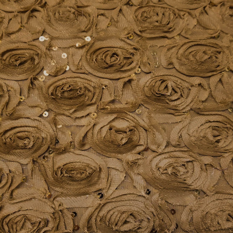 Mustard Leaf Floral Chiffon Rosette Fabric with Sequins for Newborn Back Drops or Bean Bag Covers