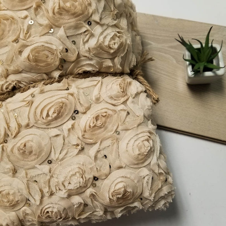 2-YARDS 60x72  Sand Leaf Floral Chiffon Rosette Fabric with Sequins for Newborn Back Drops or Bean Bag Covers